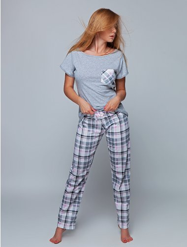 Pijamale bumbac in carouri Sensis Luisa