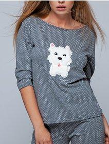 Pijamale cu picatele si imprimeu catel Sensis Coco