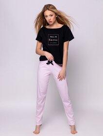 Pijamale de bumbac cu dungi si imprimeu text Sensis Billie