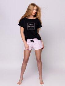 Pijamale de bumbac scurte cu fundita si imprimeu text Sensis Alison