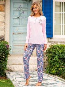 Pijamale vascoza roz cu flori Berrak 892