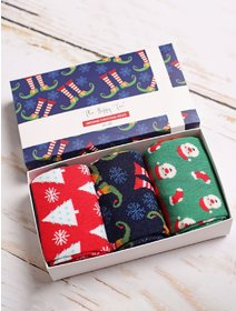 Set cadou 3 perechi sosete de Craciun The Happy Toe Classy Christmas