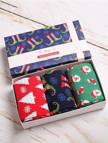 Set cadou 3 perechi sosete de Craciun The Happy Toe Classy Christmas