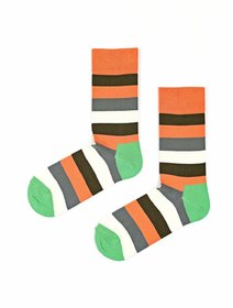 Sosete cu dungi colorate The Happy Toe Just Stripes Orange