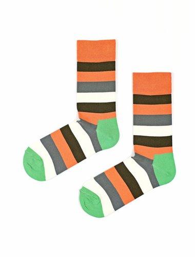 Sosete cu dungi colorate The Happy Toe Just Stripes Orange