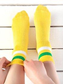 Sosete galbene cu dungi colorate Socks Concept SC-1541-3