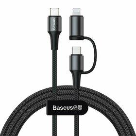 Cablu de alimentare 2 in1 Baseus Twins USB Tip C - USB Tip C (60W 20V 3A)+ adaptor Lightning (5V 2A) Black