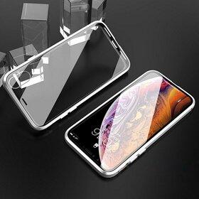 Husa 360 Magnetica cu Sticla fata + spate pentru iPhone XR Silver