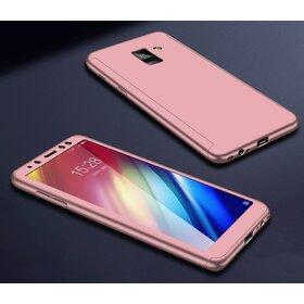 Husa 360 pentru Galaxy A8 Plus (2018) Rose Gold