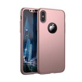 Husa 360 pentru iPhone X Rose Gold