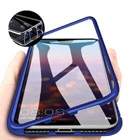 Husa cu Bumper Magnetic si Spate din Sticla Securizata pentru Galaxy A10 Blue