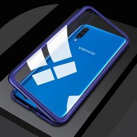 Husa cu Bumper Magnetic si Spate din Sticla Securizata pentru Galaxy A50 Blue