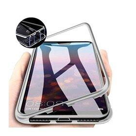 Husa cu Bumper Magnetic si Spate din Sticla Securizata pentru Galaxy A70 Silver