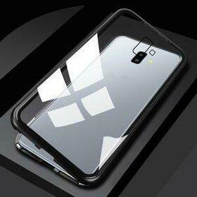 Husa cu Bumper Magnetic si Spate din Sticla Securizata pentru Galaxy J4 (2018) Plus Black