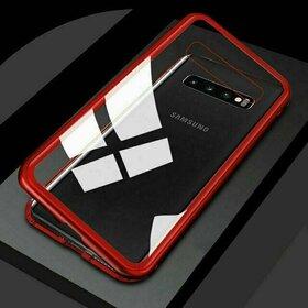 Husa cu Bumper Magnetic si Spate din Sticla Securizata pentru Galaxy S10 Plus Red
