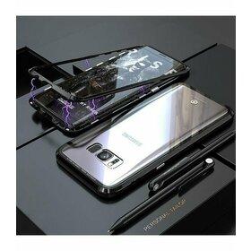 Husa cu Bumper Magnetic si Spate din Sticla Securizata pentru Galaxy S7 Edge Black