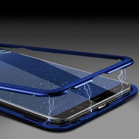 Husa cu Bumper Magnetic si Spate din Sticla Securizata pentru Galaxy S8 Blue