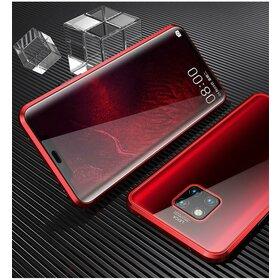 Husa cu Bumper Magnetic si Spate din Sticla Securizata pentru Huawei Mate 20 Red