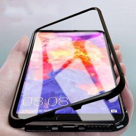 Husa cu Bumper Magnetic si Spate din Sticla Securizata pentru Huawei Mate 20 Lite