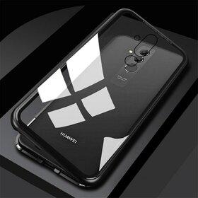 Husa cu Bumper Magnetic si Spate din Sticla Securizata pentru Huawei Mate 20 Pro Black