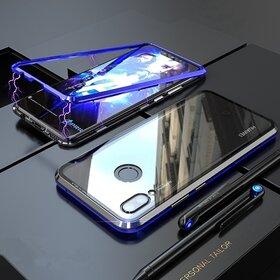 Husa cu Bumper Magnetic si Spate din Sticla Securizata pentru Huawei P Smart (2019) Blue