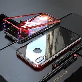 Husa cu Bumper Magnetic si Spate din Sticla Securizata pentru Huawei P Smart (2019) Red