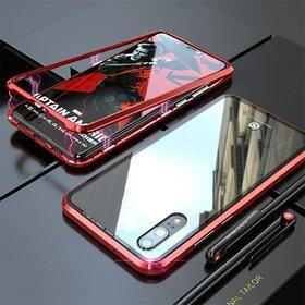 Husa cu Bumper Magnetic si Spate din Sticla Securizata pentru Huawei P20 Red