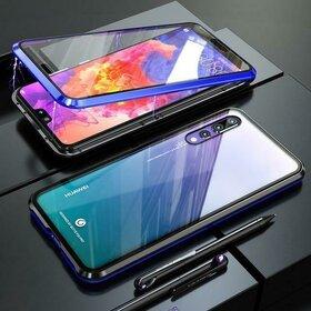 Husa cu Bumper Magnetic si Spate din Sticla Securizata pentru Huawei P20 Pro Blue