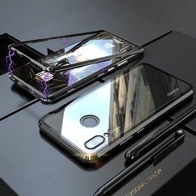Husa cu Bumper Magnetic si Spate din Sticla Securizata pentru Huawei Y7 Prime (2019)/ Huawei Y7 (2019) Black