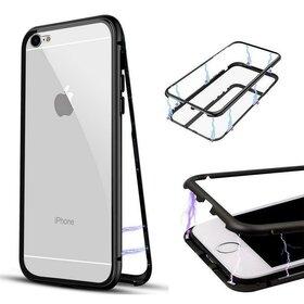 Husa cu Bumper Magnetic si Spate din Sticla Securizata pentru iPhone 6/6s Black