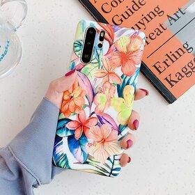 Husa cu model floral pentru Huawei P30 Lite Orange