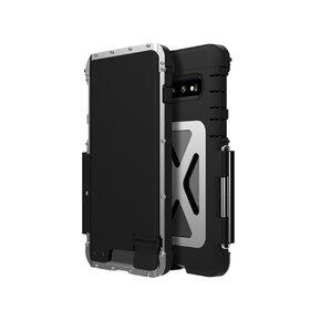 Husa de protectie din aluminium cu flip protector pentru Galaxy S10 Black&Silver