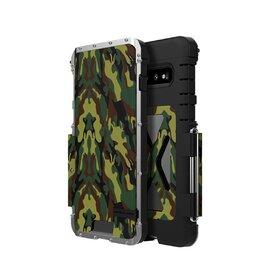 Husa de protectie din aluminium cu flip protector pentru Galaxy S10 Camouflage Green