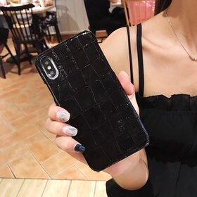 Husa din piele ecologica cu textura piele de crocodil pentru iPhone X/ XS Black