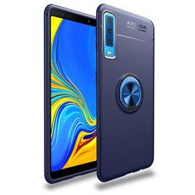Husa din silicon cu inel magnetic rotativ pentru Galaxy A7 (2018) Blue