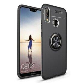 Husa din silicon cu inel magnetic rotativ pentru Huawei P20 Lite (2018)