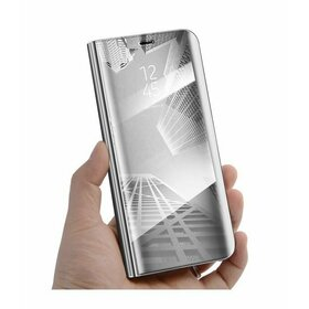 Husa Flip Mirror pentru Galaxy J7 (2018) Silver