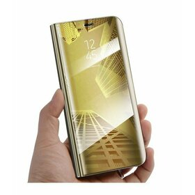 Husa Flip Mirror pentru Galaxy J8 (2018) Gold