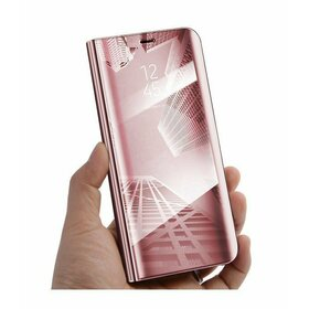 Husa Flip Mirror pentru Galaxy J8 (2018) Rose Gold