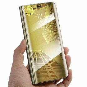 Husa Flip Mirror pentru Galaxy S7 Edge Gold