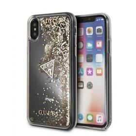 Husa Guess cu Glitter Hearts Transparenta pentru iPhone XS Max Gold