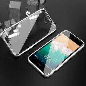 Husa iPhone SE 2 (2020) / iPhone 7/ iPhone 8 model 360 Magnetica cu Sticla fata + spate Silver