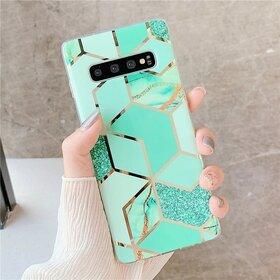 Husa marmura cu aplicatii geometrice pentru Galaxy S8 Green Mint