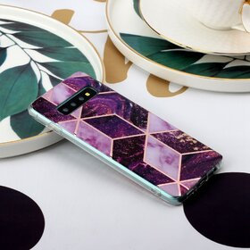 Husa marmura cu aplicatii geometrice pentru Galaxy S8 Pink