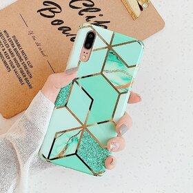 Husa marmura cu aplicatii geometrice pentru Huawei Mate 20 Lite Green Mint