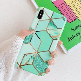 Husa marmura cu aplicatii geometrice pentru iPhone 7 Plus/ iPhone 8 Plus Green Mint