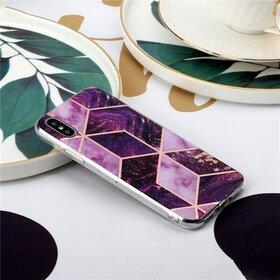 Husa marmura cu aplicatii geometrice pentru iPhone XR Pink
