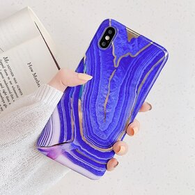 Husa marmura cu aplicatii geometrice pentru iPhone XR Purple