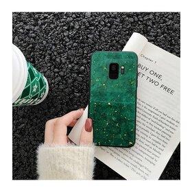 Husa protectie cu model marble pentru Galaxy S8 Green