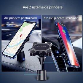 Incarcator wireless auto Floveme cu prindere bord sau grila ventilatie pentru Samsung si iPhone